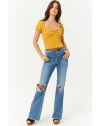 Forever 21 - Yellow Ruched Lettuce-edge Top - Lyst