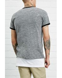 Forever 21 - Gray Marled Knit Ringer Tee for Men - Lyst