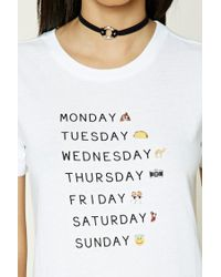 Forever 21 White Days Of The Week Graphic Tee