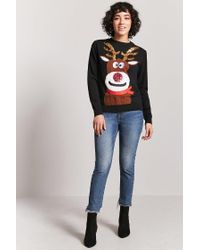 Forever 21 - Black Reindeer Graphic Sweater - Lyst