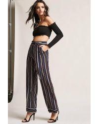 e165139b25a91d Forever 21 Wide-leg Stripe Trousers in Blue - Lyst