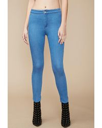 Forever 21 - Blue High-waisted Super Skinny Jeans - Lyst