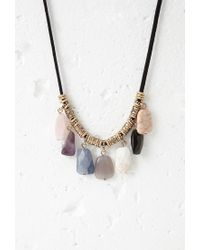 Forever 21 | Multicolor Beaded Faux Stone Cord Necklace | Lyst