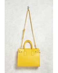Forever 21 | Yellow Structured Faux Leather Satchel | Lyst