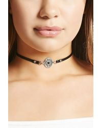 Forever 21 - Black Faux Leather Medallion Choker - Lyst