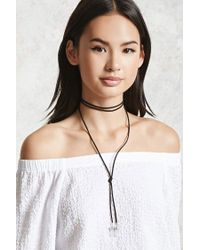Forever 21 | Black Faux Crystal Bolo Necklace | Lyst