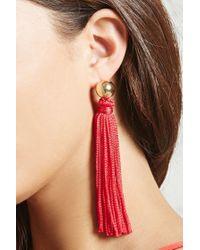 Forever 21 - Red Tasseled Duster Earrings - Lyst