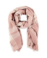 Forever 21 - Pink Frayed Plaid Scarf - Lyst