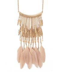 Forever 21 | Metallic Feather Statement Necklace | Lyst