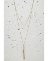 Forever 21 - Metallic Layered Faux Stone Tassel Necklace - Lyst