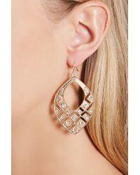 Forever 21 | Metallic Cutout Rhinestone Drop Earrings | Lyst