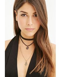 Forever 21 - Black Faux Suede Choker And Necklace Set - Lyst