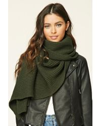 Forever 21 | Green Ribbed Knit Oblong Scarf | Lyst