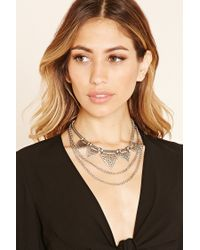 Forever 21 - Metallic Chain Statement Necklace - Lyst