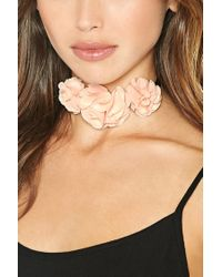 Forever 21 | Metallic Flower Ribbon Choker | Lyst