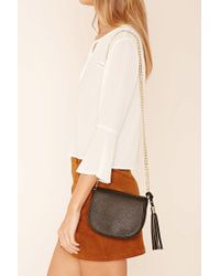 Forever 21 | Black Faux Leather Crossbody Bag | Lyst