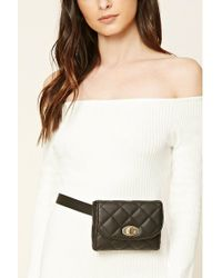 Forever 21 | Black Quilted Faux Leather Fanny Pack | Lyst