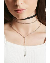 Forever 21 | Metallic Triangle Charm Choker Set | Lyst