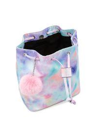 Forever 21 Blue Pom Pom Tie-dye Backpack