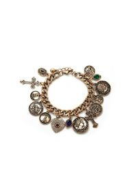 Forever 21 - Metallic Etched Liberty Charm Bracelet - Lyst