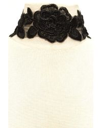 Forever 21 - Black Floral Embroidered Choker - Lyst