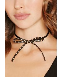 Forever 21 - Black Studded Bow Tie Choker - Lyst