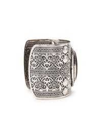 Forever 21 | Black Faux Stone Etched Cuff | Lyst