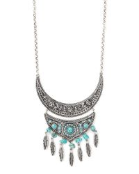 Forever 21 - Metallic Feather Faux Stone Necklace - Lyst