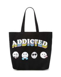 Forever 21 | Black Addicted Emoji Graphic Eco Tote | Lyst