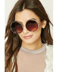 Forever 21 | Brown Round Cutout Sunglasses | Lyst