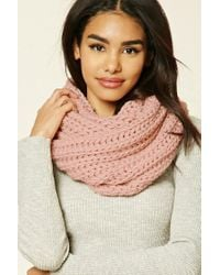 Forever 21 | Pink Ribbed Knit Infinity Scarf | Lyst