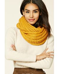 Forever 21 | Yellow Ribbed Knit Infinity Scarf | Lyst