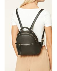 Forever 21 - Black Faux Leather Backpack - Lyst