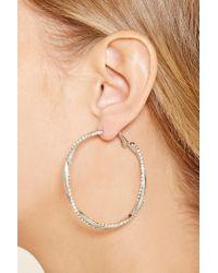 Forever 21 - Metallic Rhinestone Twist Hoop Earrings - Lyst