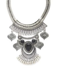 Forever 21 - Black Faux Stone Statement Necklace - Lyst