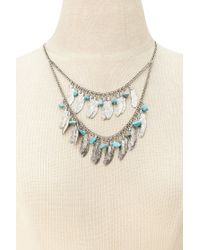 Forever 21 - Metallic Feather Layered Necklace - Lyst