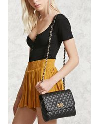 Forever 21 | Black Quilted Faux Leather Crossbody | Lyst