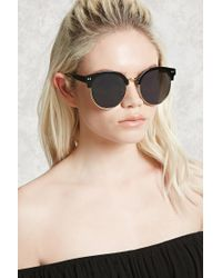 Forever 21 | Black Round Browline Sunglasses | Lyst