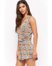 Forever 21 - Orange Surplice Geometric Romper - Lyst