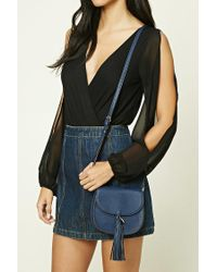 Forever 21 - Blue Tasseled Faux Leather Crossbody - Lyst