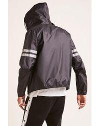 Forever 21 Gray Reflective Varsity Stripe Hooded Windbreaker for men