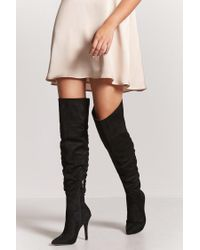 5fa40d442bc Lyst - Forever 21 Ruched Faux Suede Thigh-high Boots in Black