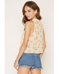 Forever 21 - Pink Women's Floral Print Tie-neck Top - Lyst
