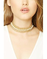 Forever 21 - Natural Faux Pearl Loop Chain Choker - Lyst