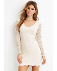 Forever 21 - White Eyelash Lace Bodycon Dress - Lyst