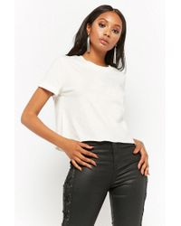 Forever 21 - White Cuffed Raw-cut Tee - Lyst