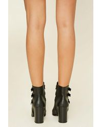 Forever 21 - Black Faux Leather Buckle Booties - Lyst