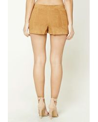 Forever 21 - Brown Genuine Suede Shorts - Lyst