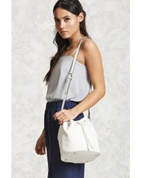 Forever 21 - White Pebbled Faux Leather Bucket Bag - Lyst