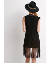 Forever 21 - Black Open-knit Fringe Vest - Lyst